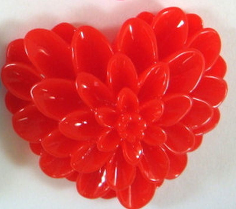 BOGO Red Heart Cabochons, Large Acrylic Resin Valentine Flowers 38x34mm - 2 pcs. - CA2017-R2 - Buy 1, get 1