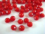 Red Faceted Glass Rondelles