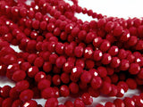 Red Faceted Rondelles
