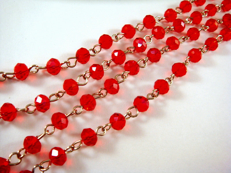 Red Glass Beaded Chain