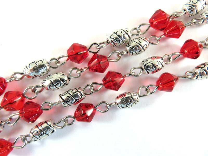 Red Beaded Chain, Nickel Plated with Glass Bicones & Etched Oval Spacers 7x4mm - 39 in. - STR9087-RD39