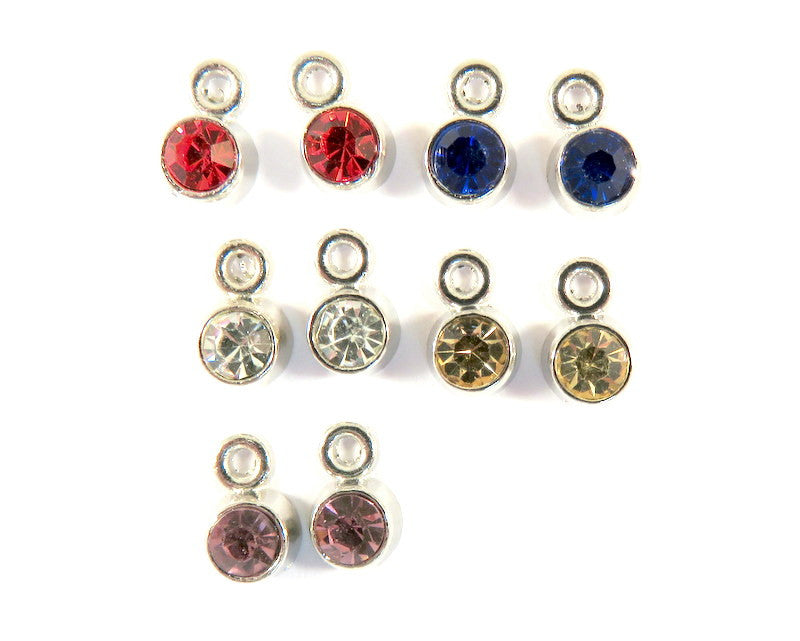 Silver Plated Charms, Small Round Faceted Glass Rhinestone Drops 8x5mm - 10 pcs. - 6510-12