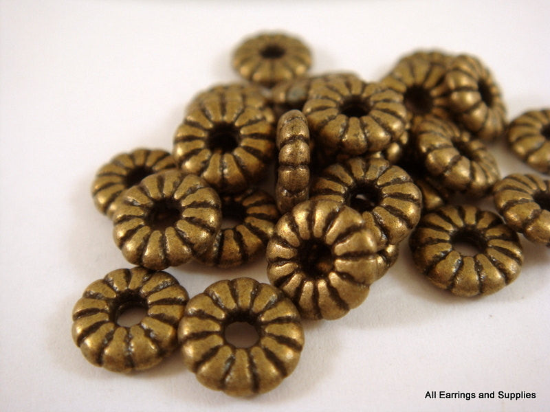 Antique Bronze Beads, Large Hole Ribbed Flower Plated Metal Disk Spacers LF/CF 7x2mm - 25 pcs. - M7037-AB25