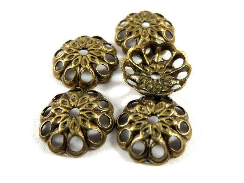 Antique Gold Bead Caps, Round Filigree Flowers, Plated Brass 8mm -  50 pcs. - 3625-10