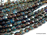 Round Faceted Sapphire Picasso Czech Glass Beads