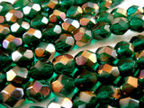 Round Faceted Transparent Dark Green Glass Beads