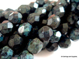 Round Matte Opaque Faceted Jet Black Glass Beads