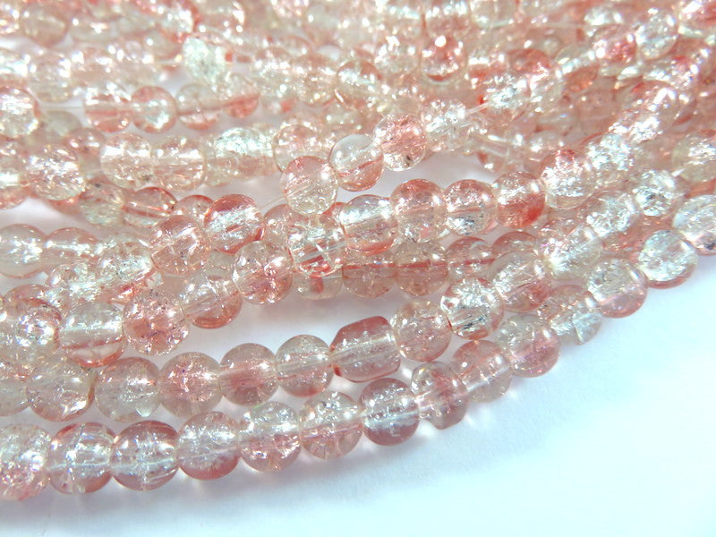 Pink Crackle Beads, Round Clear Transparent 6mm - 50 pcs. - G6052-PKC50
