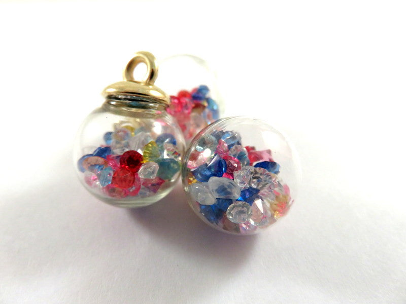 Glass Bottle Pendants, Small Round Glass Drops with Rhinestones 22x16mm - 3 pcs. - MS11050-BT3