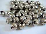 Round Ribbed Nickel Melon Beads
