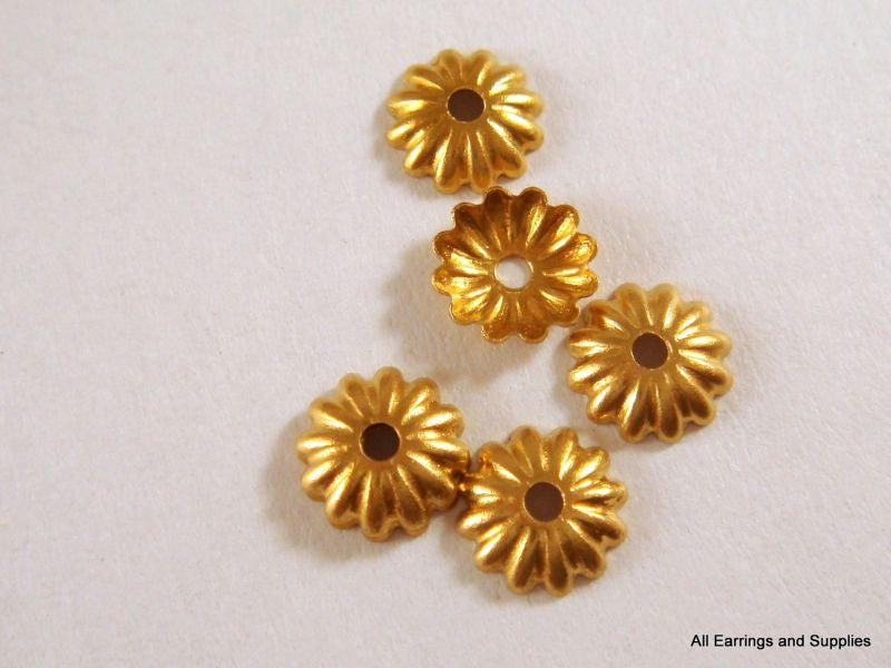Brass Bead Caps, Small Round Ribbed Raw/Unplated 6mm - 25 pcs. - F4086BC-UN100