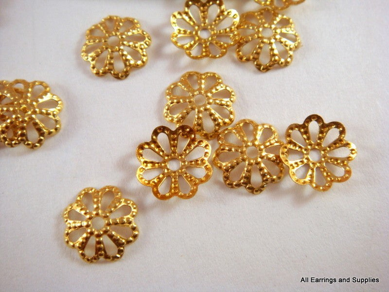 Brass Bead Caps, Round Scalloped Flowers Raw/Unplated 8mm - 100 pcs. - F4089BC-UN100