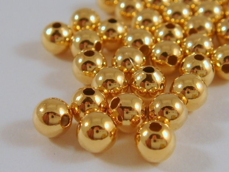Round Seamless Gold Spacer Beads