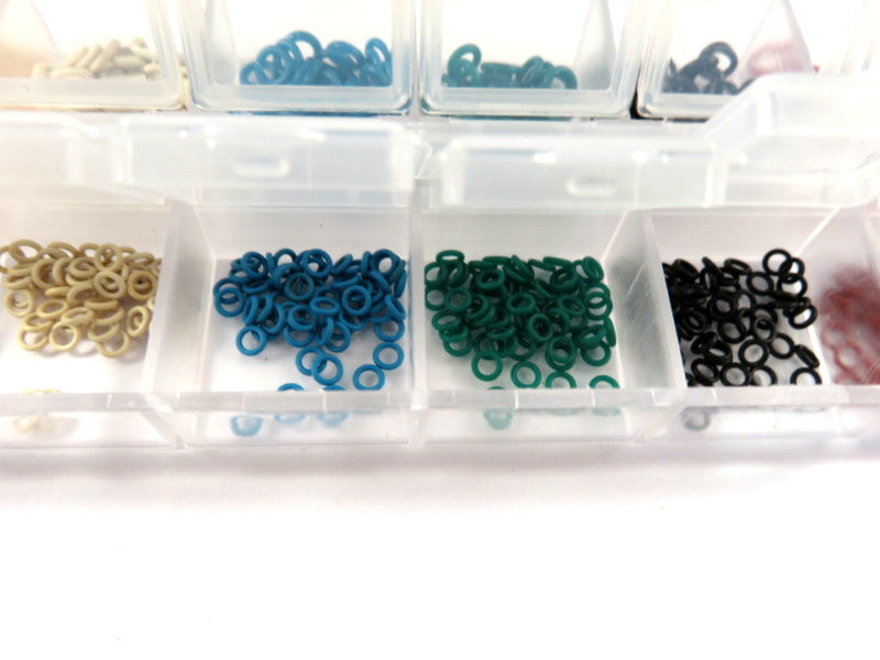 Rubber O Rings, Spacers or Stitch Markers, 6 Color Assortment, Snap Tight Organizer Storage Box, 5mm & 2 mm - 480 pcs. - MS11047