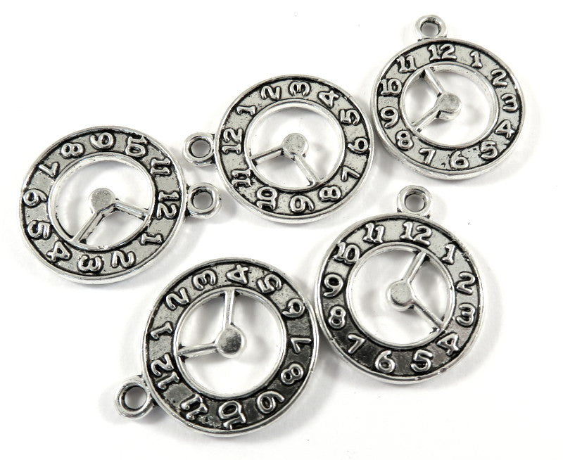 Antique Silver Charms, Double Sided Round Clock Pendant Drops 21x18mm - 5 pcs. - DC3031-AS5