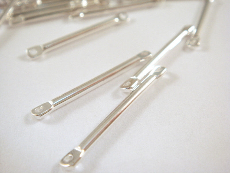 Silver Plated Connectors, Straight Brass Bar Links 17x2mm - 25 pcs. - F4177LK-S25