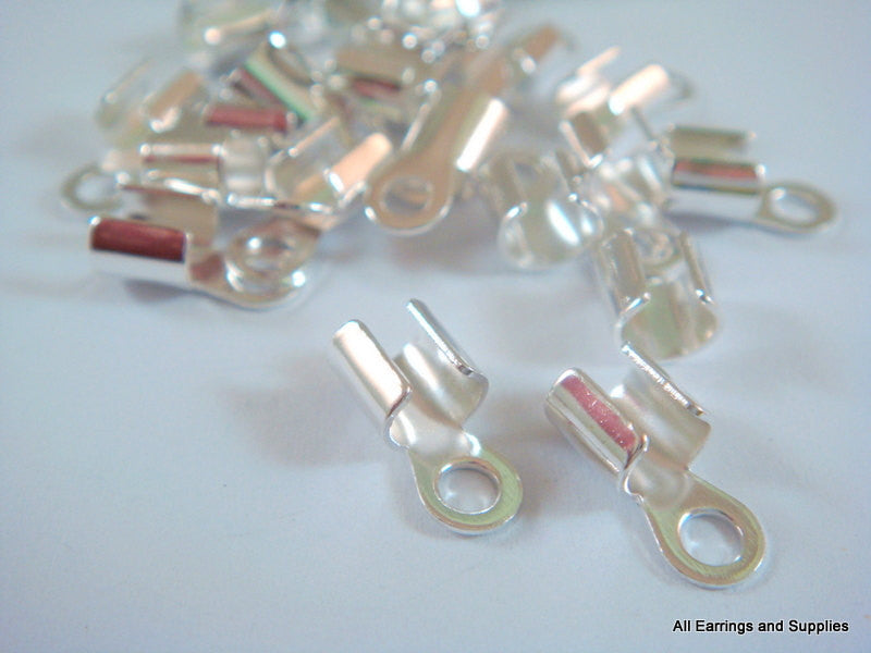 Fold Over Cord Ends, Silver Plated Brass with Loop 10x5mm - 24 pcs. - 6262-16