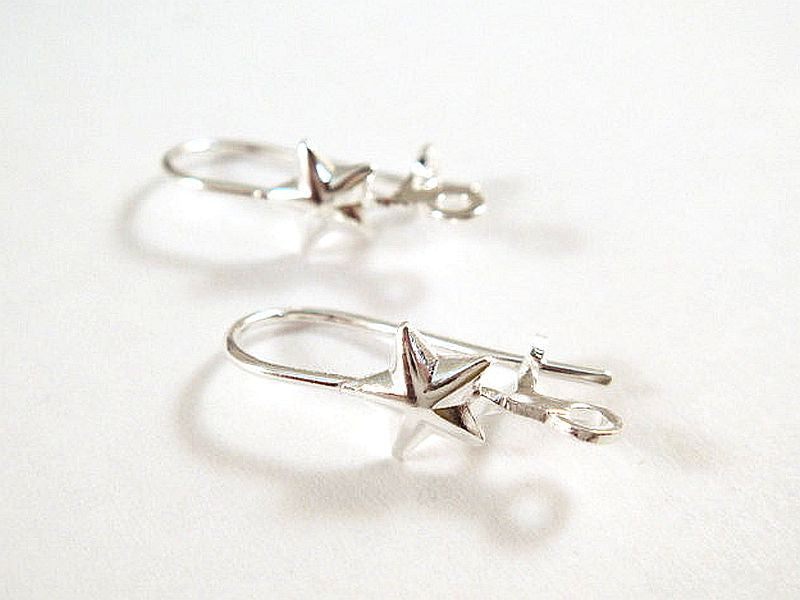 Leverback Earrings, Silver Plated Brass 5 Point Star Ear Wires, Open Loop 17mm - 24 pcs. - 1743-3
