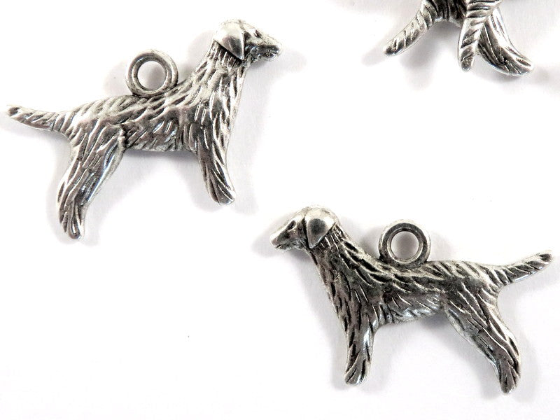 Antique Silver Charms, Setter or Retriever Dog Charms or Pendants 23x15mm - 10 pcs. - 6502