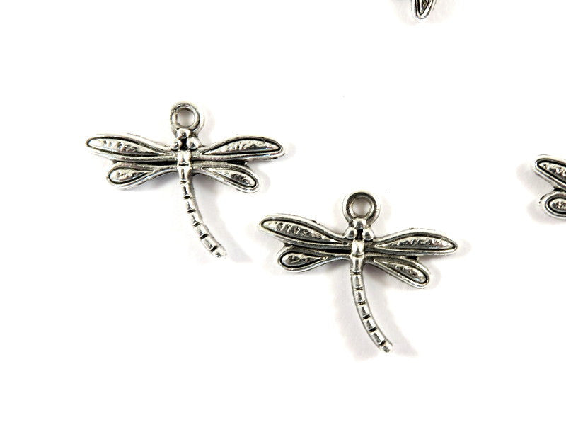 Antique Silver Charms, Double Sided Dragonfly Drops 17x15mm - 10 pcs. - DC3027-AS10