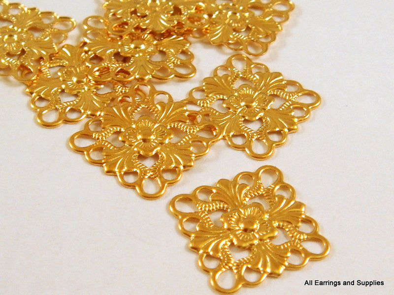 Gold Plated Connectors, Square or Diamond Brass Filigree Drops 16mm - 12 pcs. - 5802