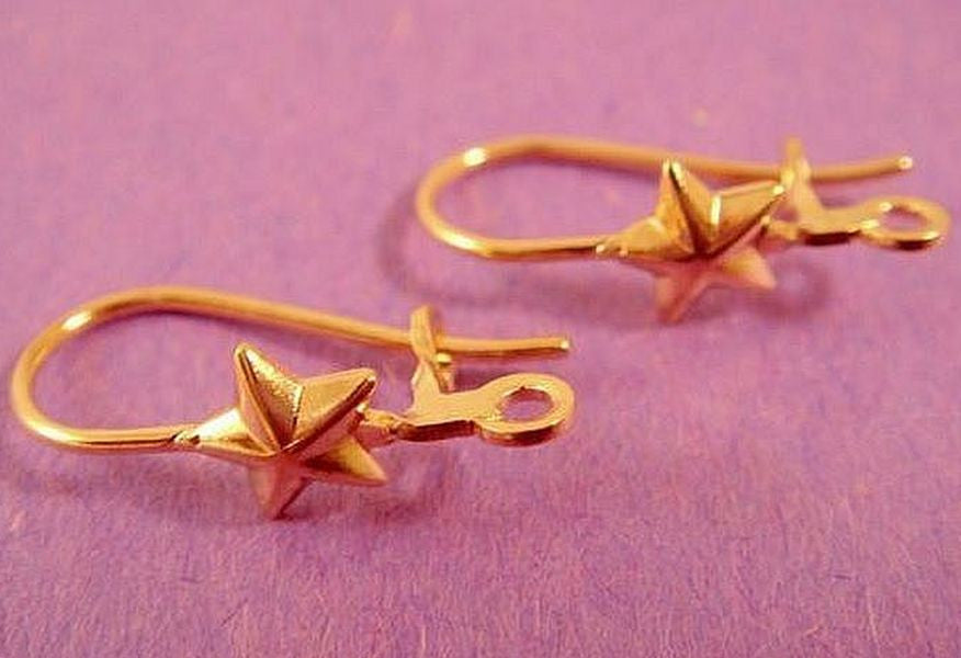 Kidney Wire Earrings, Gold Plated 5 Point Star Earwires, Open Loop - 24 pcs. - 2506-4