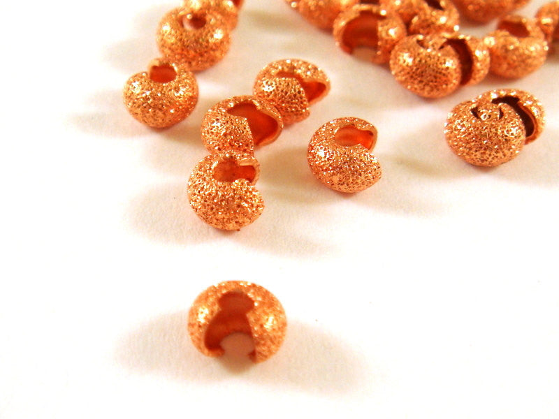 Copper Crimp Bead Covers, Stardust Plated Brass 4mm - 60 pcs. - 5894