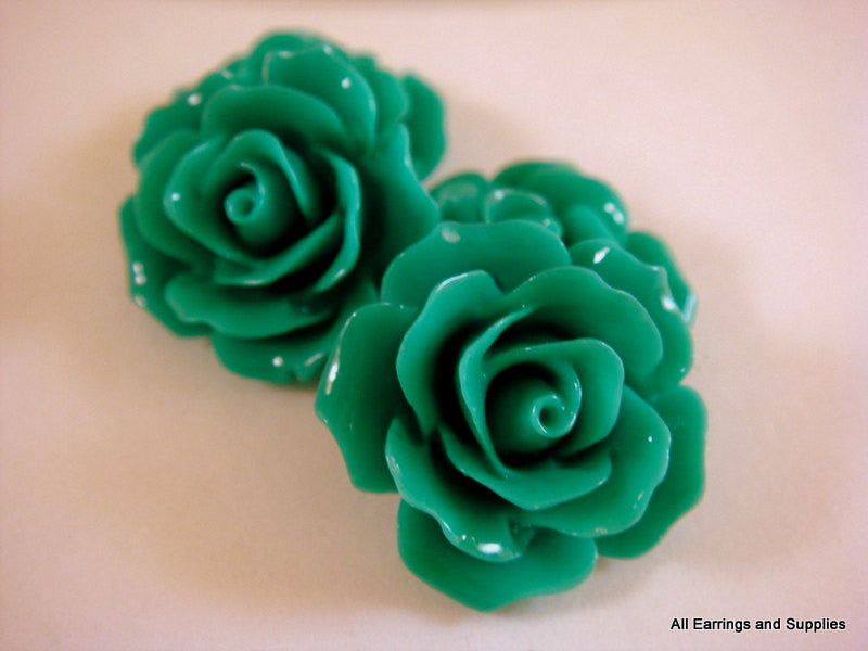 Teal Rose Cabochons