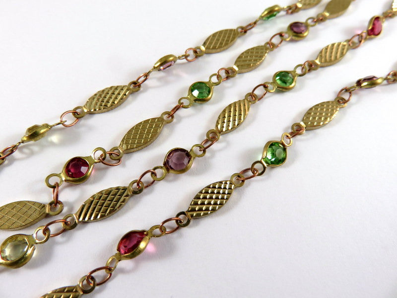 Antique Brass Chain, Multi-Color Glass Connectors with Textured Links - 24 in. - STR9089CH-AS24