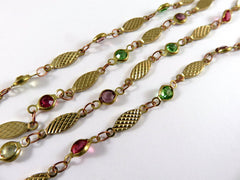 Texture Brass Glass Beaded Chain