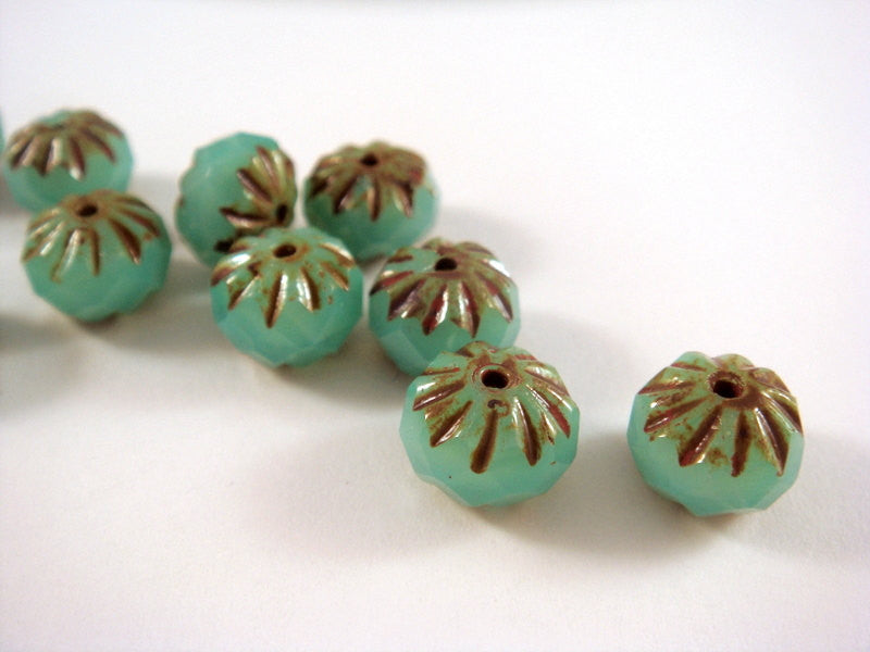 Opal Turquoise Crullers, Czech Glass Aqua Green Picasso Rondelle Beads 9x6mm - 10 pcs. - G6042-TOP10