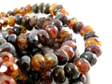 Transparent Brown Czech Picasso Beads