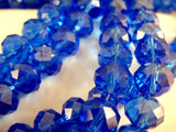 Transparent Royal Blue Rondelle Beads