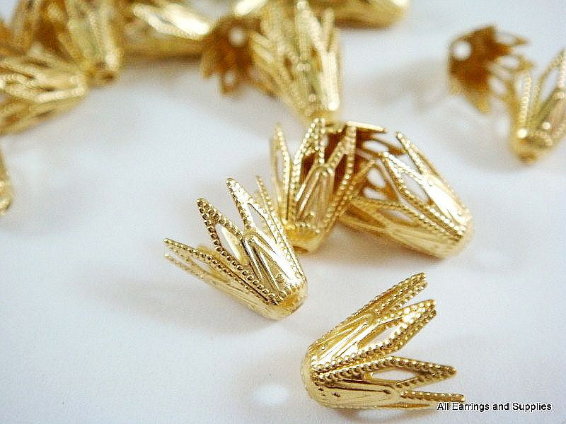 Raw Brass Bead Caps, Art Deco Vintage Style Unplated Cone Stars 9x8mm - 25 pcs. - F4147BC-UN25
