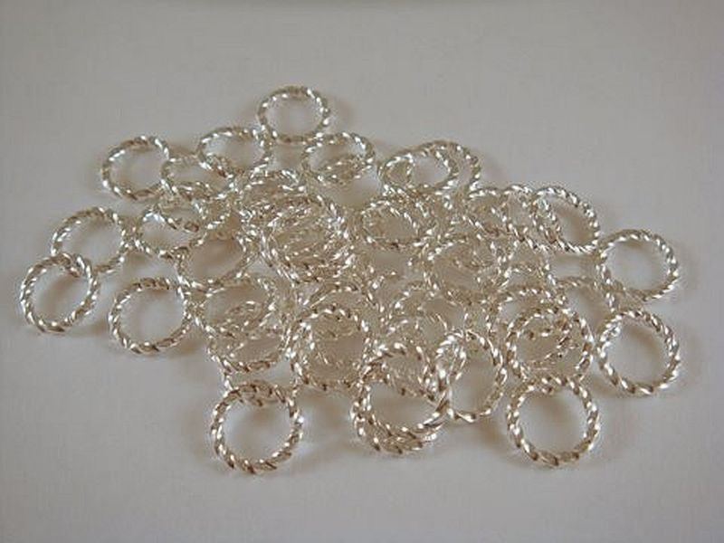 Twisted Jump Rings, Silver Plated Brass, Open Round 8mm 16g - 50 pcs. - 4006