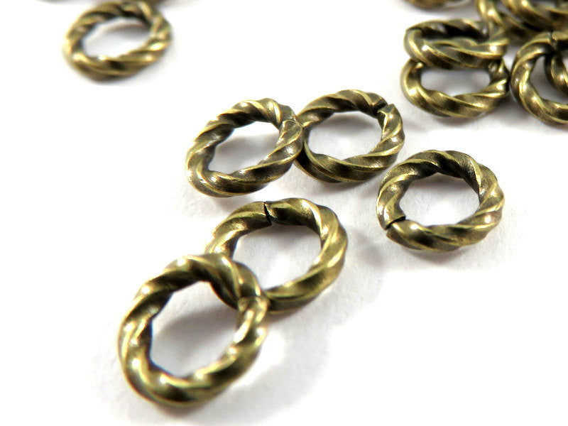 Twisted Jump Rings, Antique Gold Plated Brass, Open Round 6mm 16g - 50 pcs. - 3495