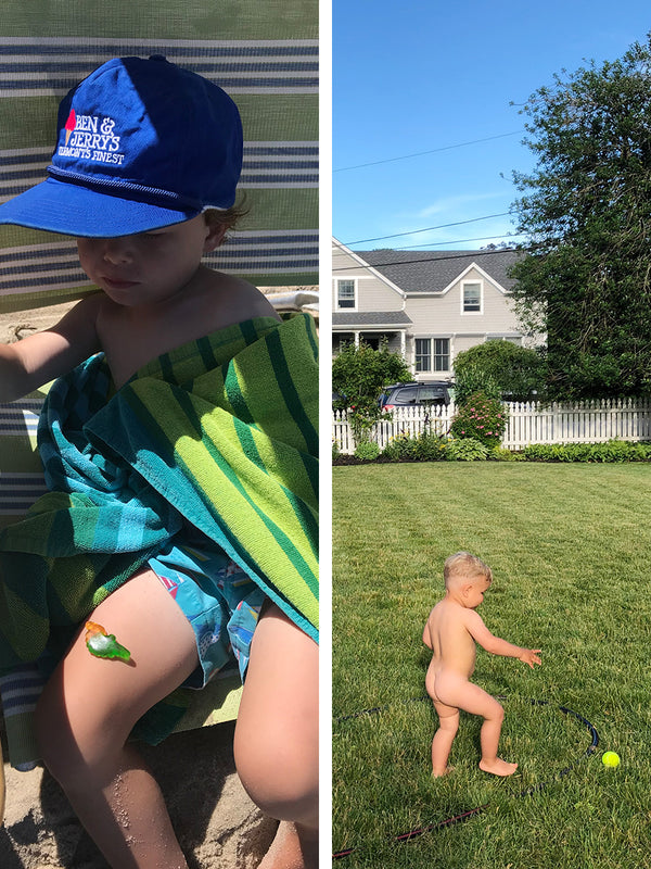 Side by side photos of Liz and Lizzy's family life this week. Both sons play outside in the grass and at the beach.