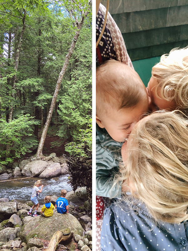 Side by side stills from our lives, this week at on a hiking trip in upstate New York, and cuddling with all three kids at once.