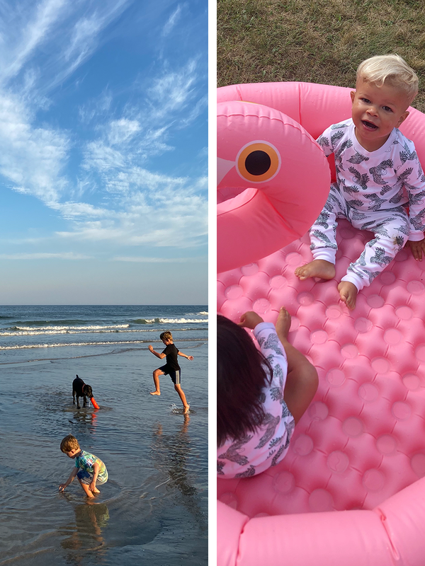 Side by side stills from our lives, this week at the Jersey Shore and in a pop-up pool in the yard.