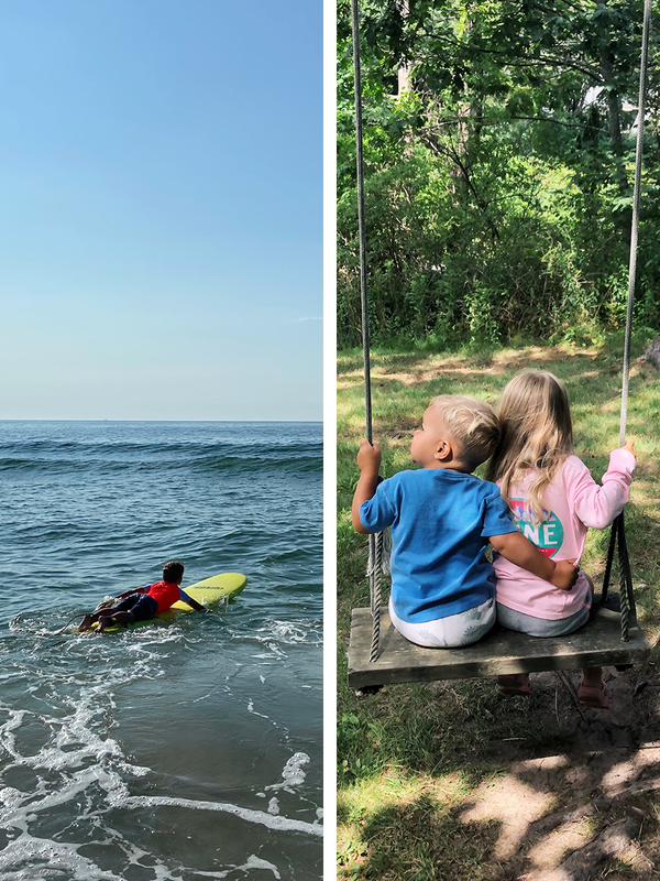 Side by side stills from our lives, this week at the beach and on a swing.