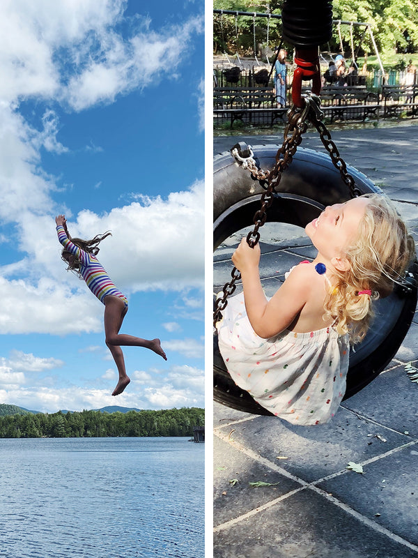 Side by side stills from our lives, this week at the lake and on the playground.