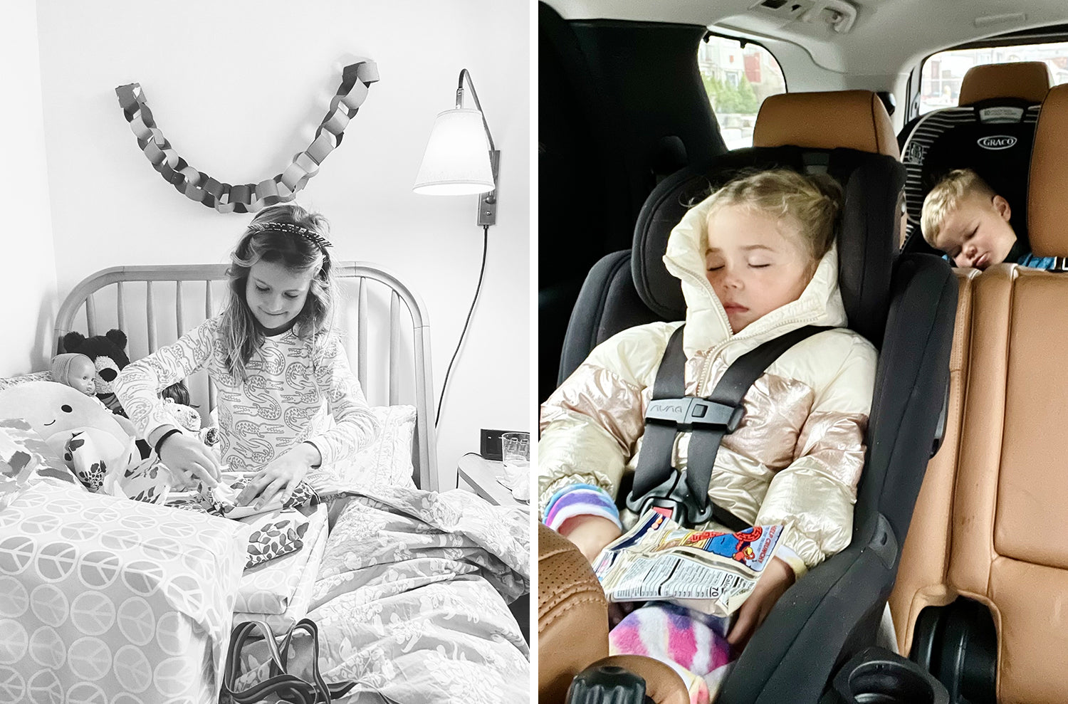 Photos of the Lewis family this week - celebrating a birthday morning in Lewis pajamas and bedding, and siblings napping in the car.