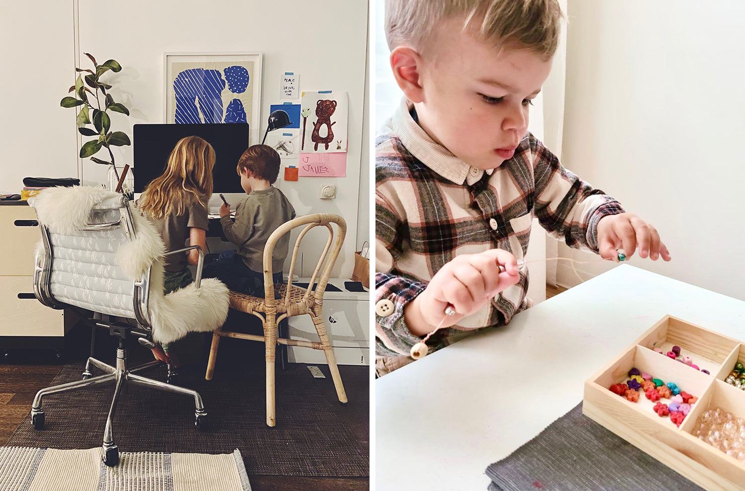 pictures of our families from this week: siblings writing a note at a computer desk, and toddler boy putting beads on a string.