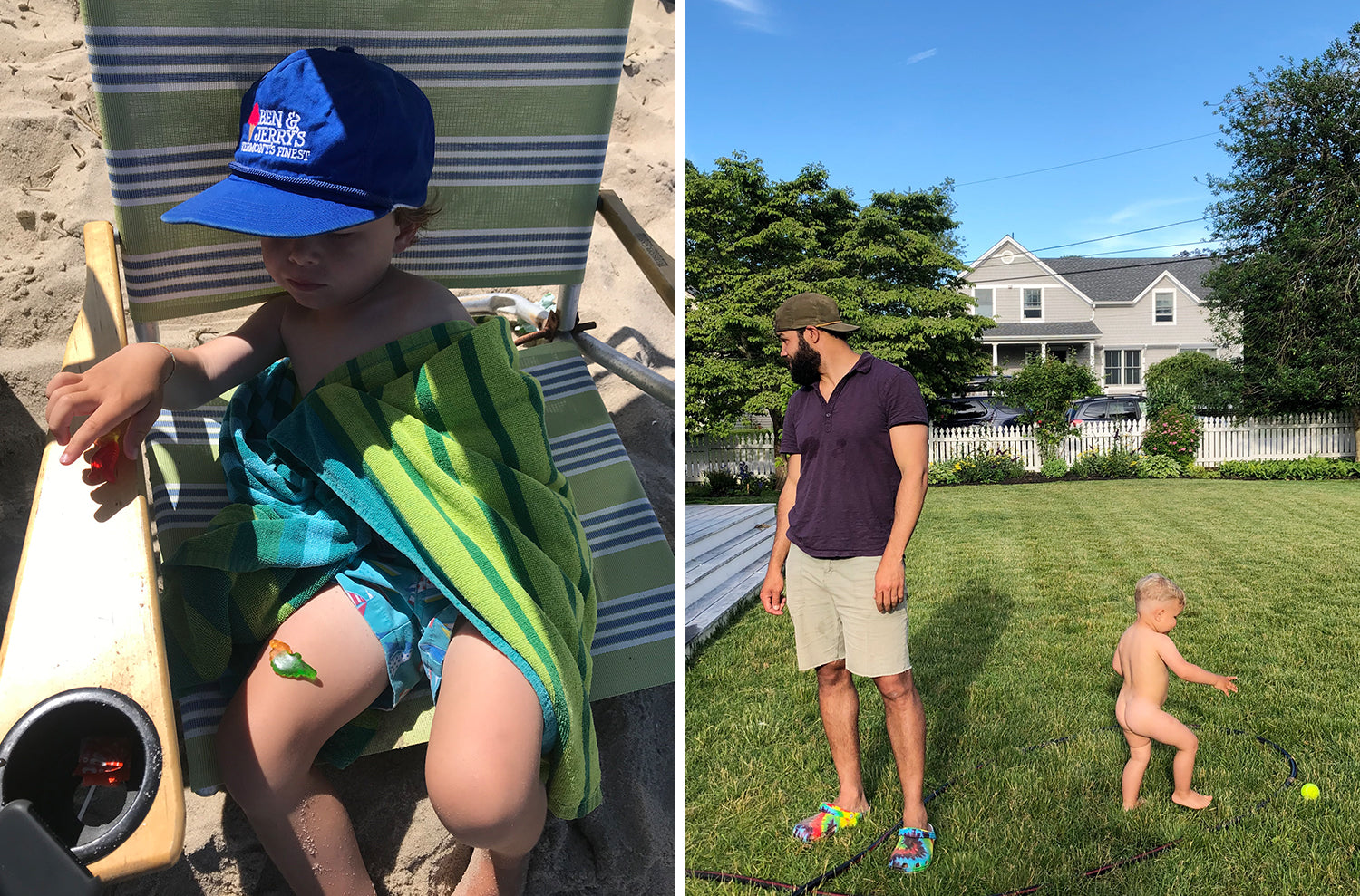 Side by side photos of Liz and Lizzy's family life this week. Both sons play outside, in the grass and at the beach.