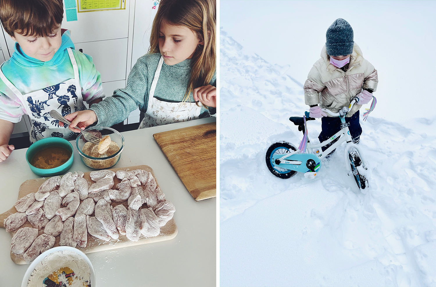 Side by side images of our families this week. Two kids making dinner, and one on bike playing in the snow.
