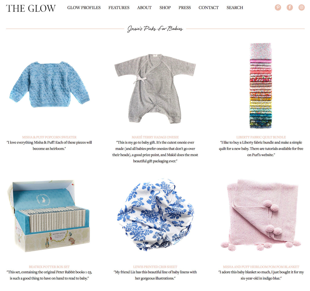Lewis crib sheet on The Glow, Jessie Randall's gift picks for little ones