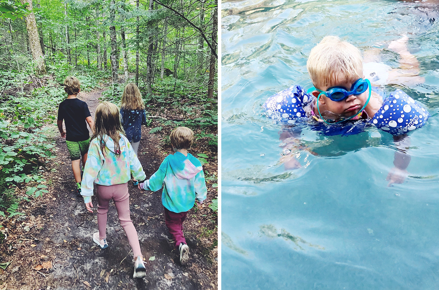 pictures of our families from this week on a hike and in the pool.