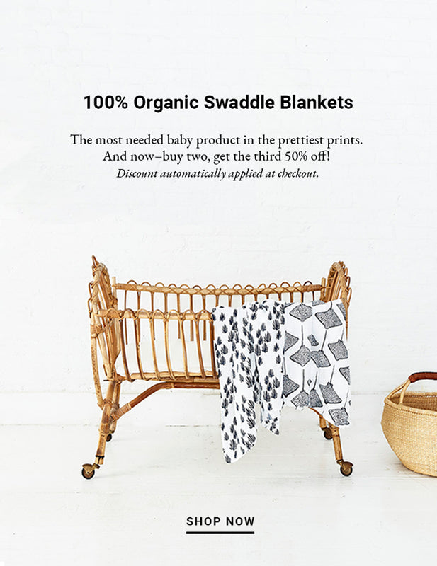 Baby bassinet crib bed with Lewis organic baby essentials for home in Stingray and Seaweed prints, color Denim