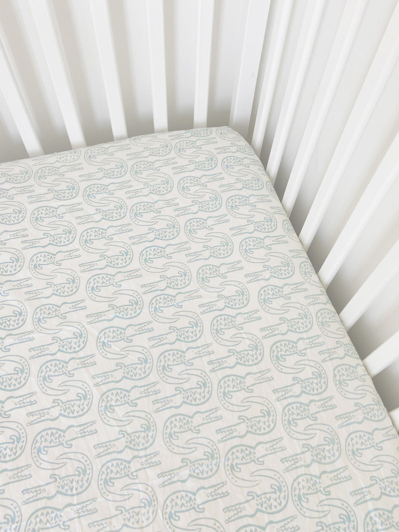 Crib Sheet - Alligator | Bay Blue