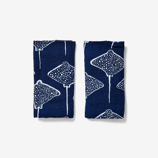 Burp Cloth Set - Inverse Stingray | Denim Burp Cloths Lewis